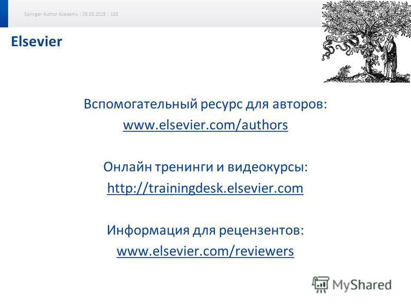 Springer Author Academy | 05.03.2015 | 103 Elsevier Вспомогательный ресурс для авторов: www.elsevier.com/authors Онлайн тренинги и видеокурсы: http://trainingdesk.elsevier.com Информация для рецензентов: www.elsevier.com/reviewers