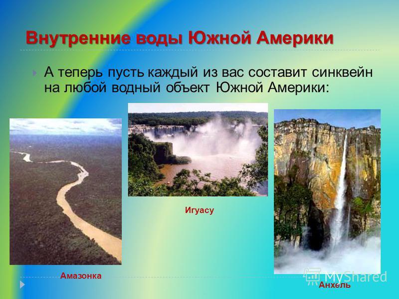 Внутренние воды Южной Америки А теперь пусть каждый из вас составит синквейн на любой водный объект Южной Америки: Амазонка Анхель Игуасу