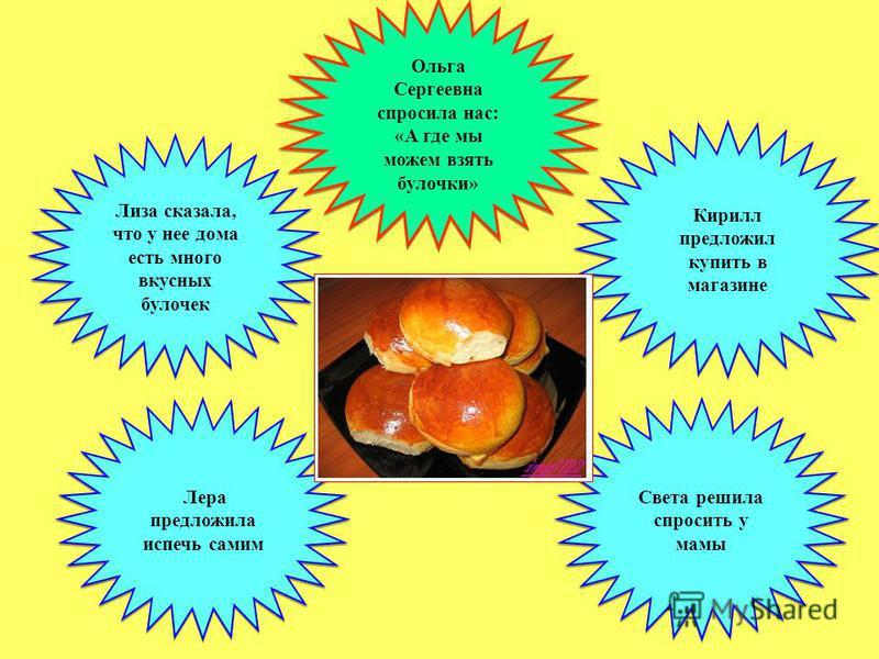 Лиза сказала, что у нее дома есть много вкусных булочек Ольга Сергеевна спросила нас: «А где мы можем взять булочки» Ольга Сергеевна спросила нас: «А где мы можем взять булочки» Лера предложила испечь самим Света решила спросить у мамы Кирилл предлож