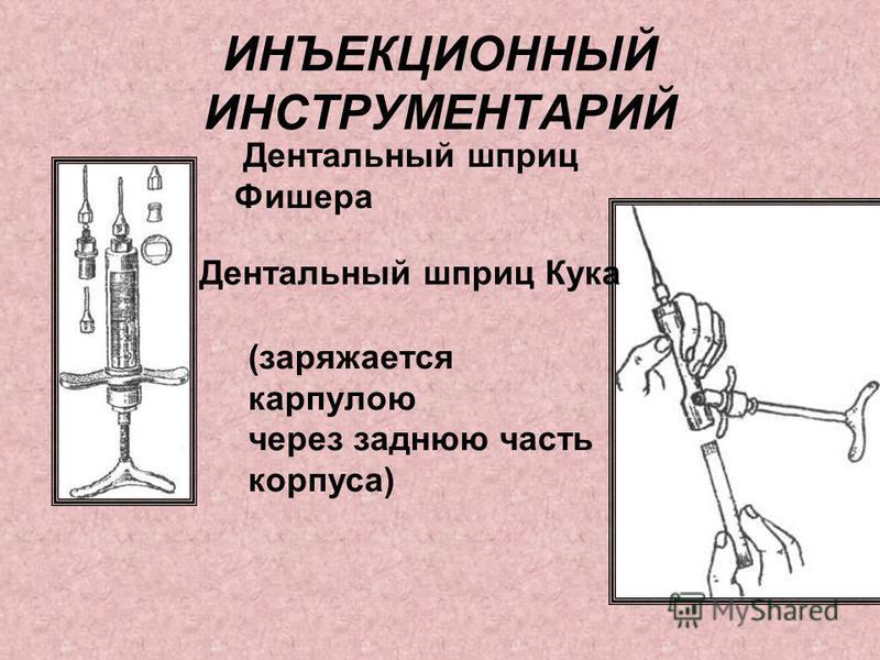 ИНЪЕКЦИОННЫЙ ИНСТРУМЕНТАРИЙ Дентальный шприц Фишера Дентальный шприц Кука (заряжается карпулею через заднюю часть корпуса)