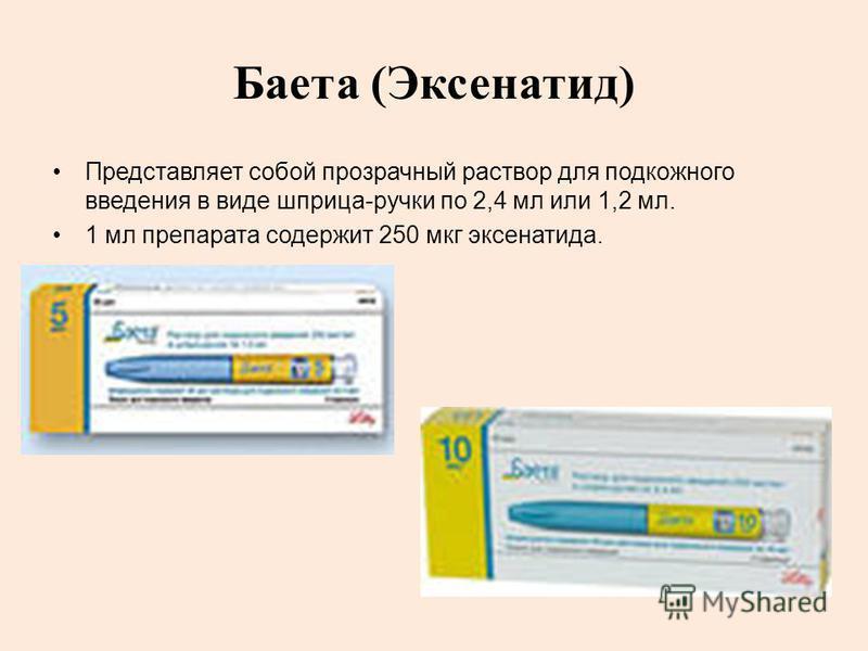 Баета (Эксенатид) Представляет собой прозрачный раствор для подкожного введения в виде шприца-ручки по 2,4 мл или 1,2 мл. 1 мл препарата содержит 250 мкг эксенатида.
