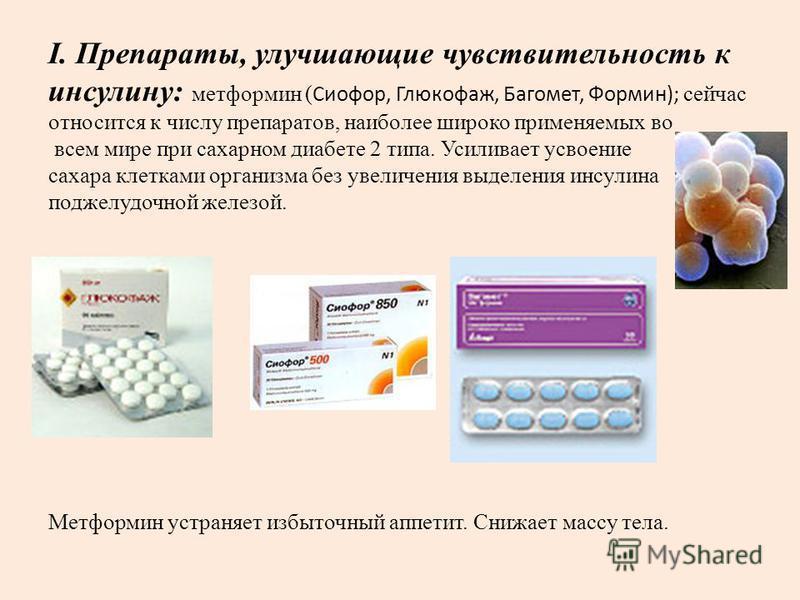I. Препараты, улучшающие чувствительность к инсулину: метформин ( Сиофор, Глюкофаж, Багомет, Формин); сейчас относится к числу препаратов, наиболее широко применяемых во всем мире при сахарном диабете 2 типа. Усиливает усвоение сахара клетками органи