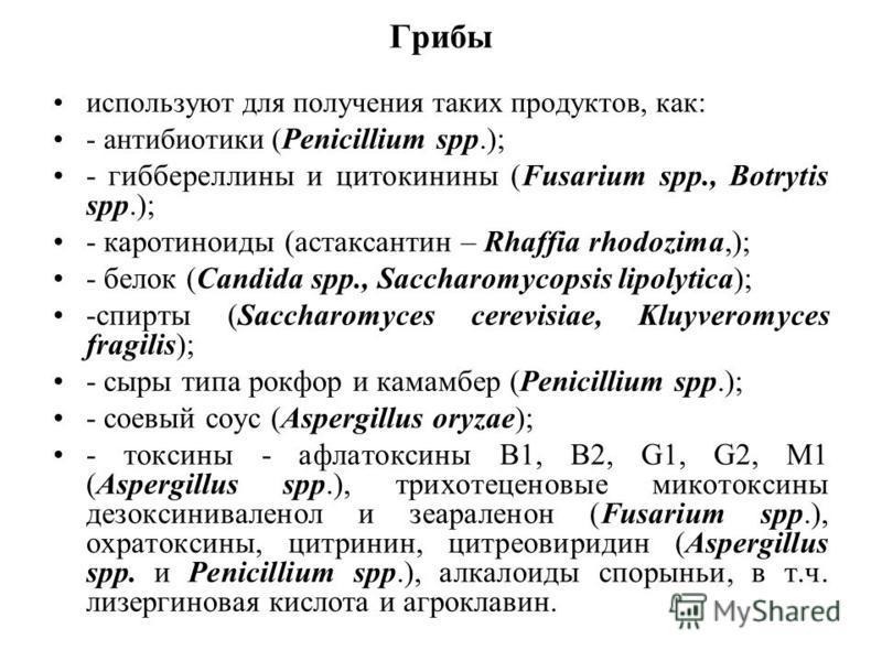 Грибы используют для получения таких продуктов, как: - антибиотики ( Penicillium spp.); - гиббереллины и цитокинины (Fusarium spp., Botrytis spp.); - каротиноиды (астаксантин – Rhaffia rhodozima,); - белок (Candida spp., Saccharomycopsis lipolytica);