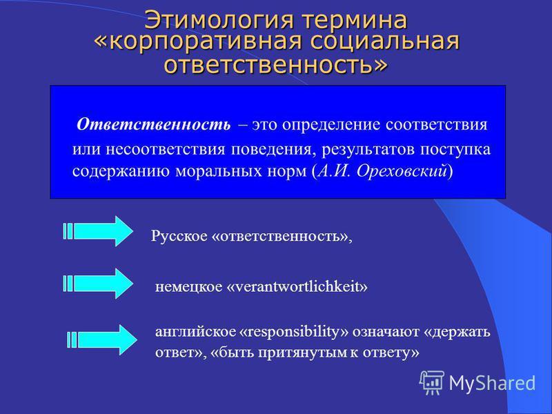 Ответственность – это определение соответствия или несоответствия поведения, результатов поступка содержанию моральных норм (А.И. Ореховский) Русское «ответственность», немецкое «verantwortlichkeit» английское «responsibility» означают «держать ответ