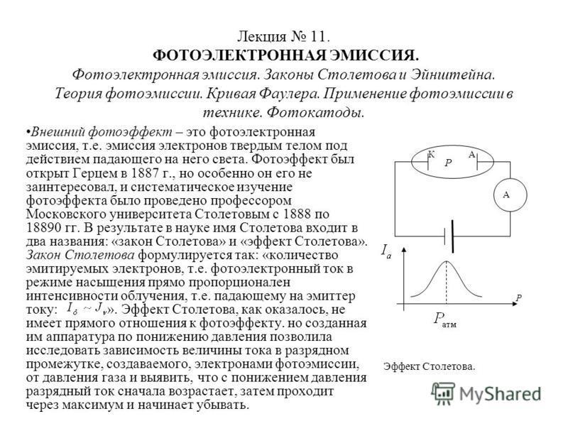 Лекция 11. ФОТОЭЛЕКТРОННАЯ ЭМИССИЯ. Фотоэлектронная эмиссия. Законы Столетова и Эйнштейна. Теория фотоэмиссии. Кривая Фаулера. Применение фотоэмиссии в технике. Фотокатоды. Внешний фотоэффект – это фотоэлектронная эмиссия, т.е. эмиссия электронов тве