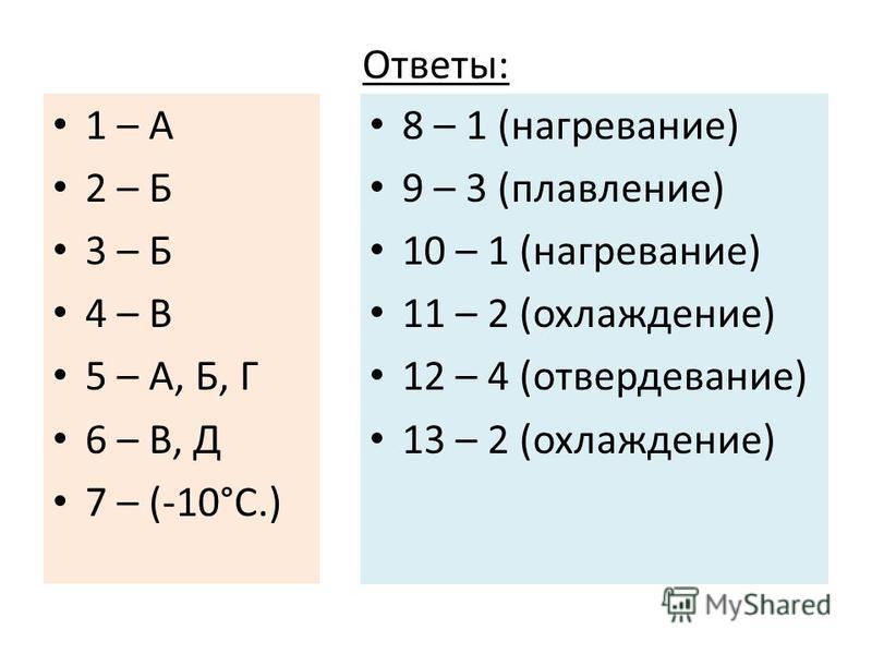 Ответы: 1 – А 2 – Б 3 – Б 4 – В 5 – А, Б, Г 6 – В, Д 7 – (-10°С.) 8 – 1 (нагревание) 9 – 3 (плавление) 10 – 1 (нагревание) 11 – 2 (охлаждение) 12 – 4 (отвердевание) 13 – 2 (охлаждение)