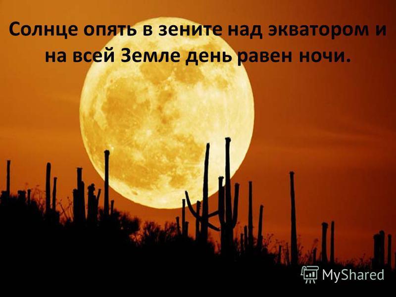 Солнце опять в зените над экватором и на всей Земле день равен ночи.
