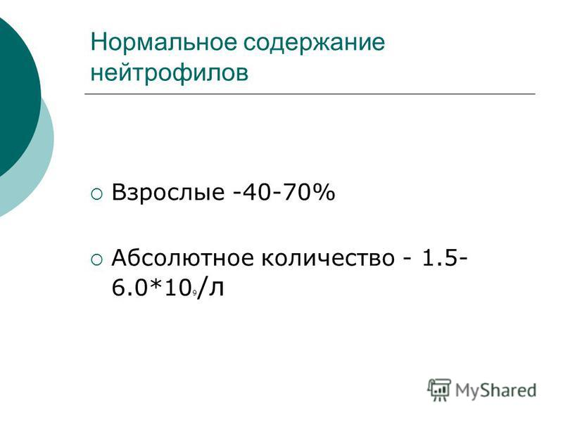 Нормальное содержание нейтрофилов Взрослые -40-70% Абсолютное количество - 1.5- 6.0*10 9 /л