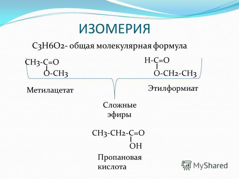 ИЗОМЕРИЯ С3Н6О2- общая молекулярная формула CH3-C=O O-CH3 H-C=O O-CH2-CH3 Сложные эфиры СН3-СН2-С=О ОН Пропановая кислота Метилацетат Этилформиат