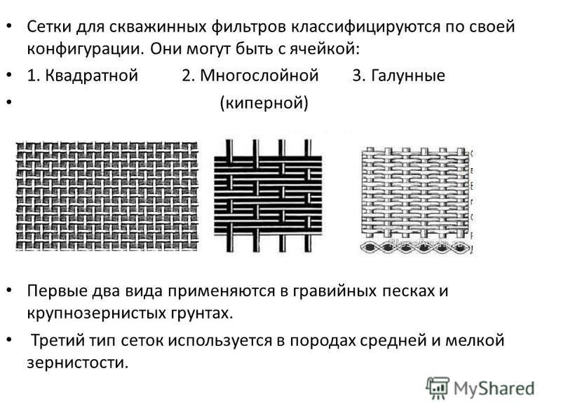 Сетки для скважинных фильтров классифицируются по своей конфигурации. Они могут быть с ячейкой: 1. Квадратной 2. Многослойной 3. Галунные (киперной) Первые два вида применяются в гравийных песках и крупнозернистых грунтах. Третий тип сеток использует