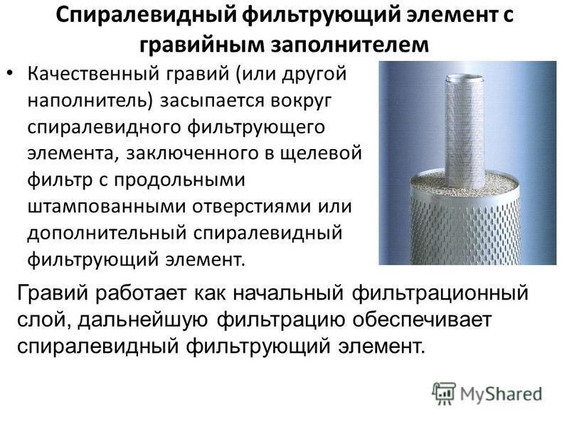 Спиралевидный фильтрующий элемент с гравийным заполнителем Качественный гравий (или другой наполнитель) засыпается вокруг спиралевидного фильтрующего элемента, заключенного в щелевой фильтр с продольными штампованными отверстиями или дополнительный с