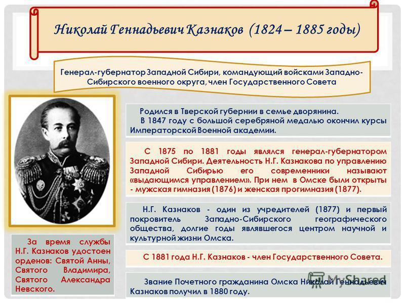 Николай Геннадьевич Казнаков (1824 – 1885 годы) Родился в Тверской губернии в семье дворянина. В 1847 году с большой серебряной медалью окончил курсы Императорской Военной академии. С 1875 по 1881 годы являлся генерал-губернатором Западной Сибири. Де