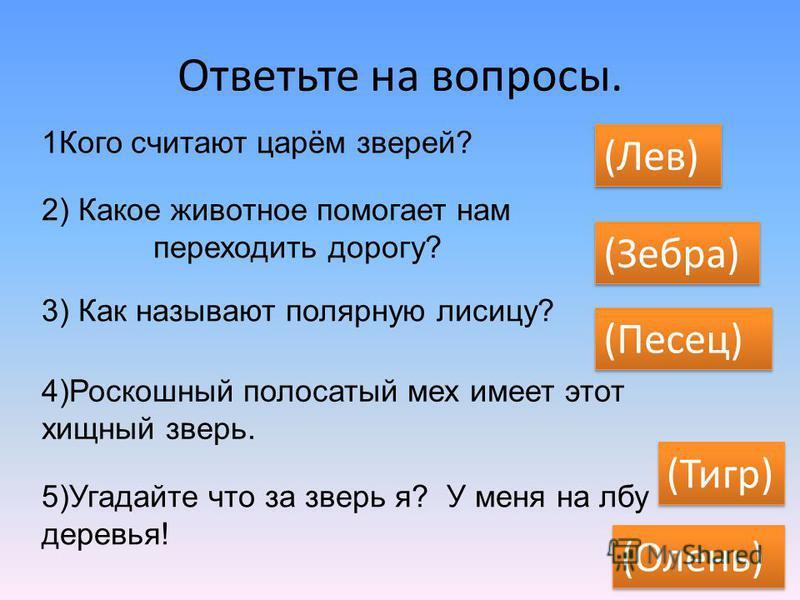 Ответьте на вопросы. 1Кого считают царём зверей? (Лев) 2) Какое животное помогает нам переходить дорогу? (Зебра) 3) Как называют полярную лисицу? (Песец) 4)Роскошный полосатый мех имеет этот хищный зверь. (Тигр) 5)Угадайте что за зверь я? У меня на л