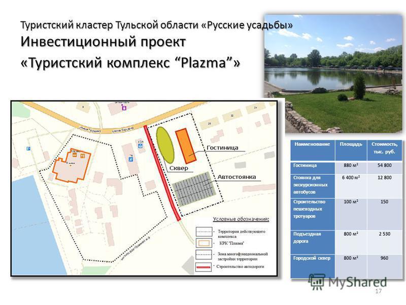 17 Туристский кластер Тульской области «Русские усадьбы» Инвестиционный проект «Туристский комплекс Plazma»
