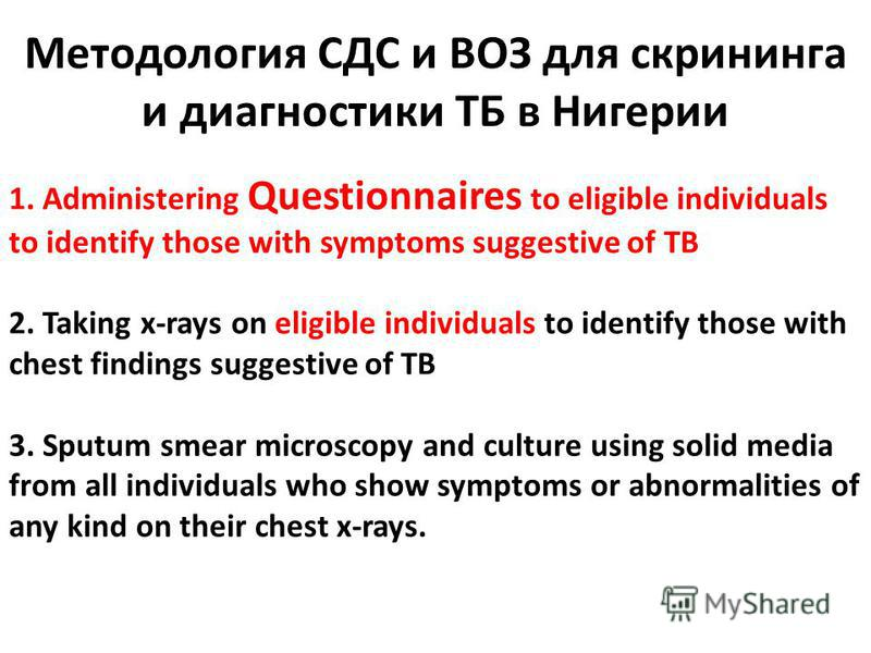 Методология СДС и ВОЗ для скрининга и диагностики ТБ в Нигерии 1. Administering Questionnaires to eligible individuals to identify those with symptoms suggestive of TB 2. Taking x-rays on eligible individuals to identify those with chest findings sug