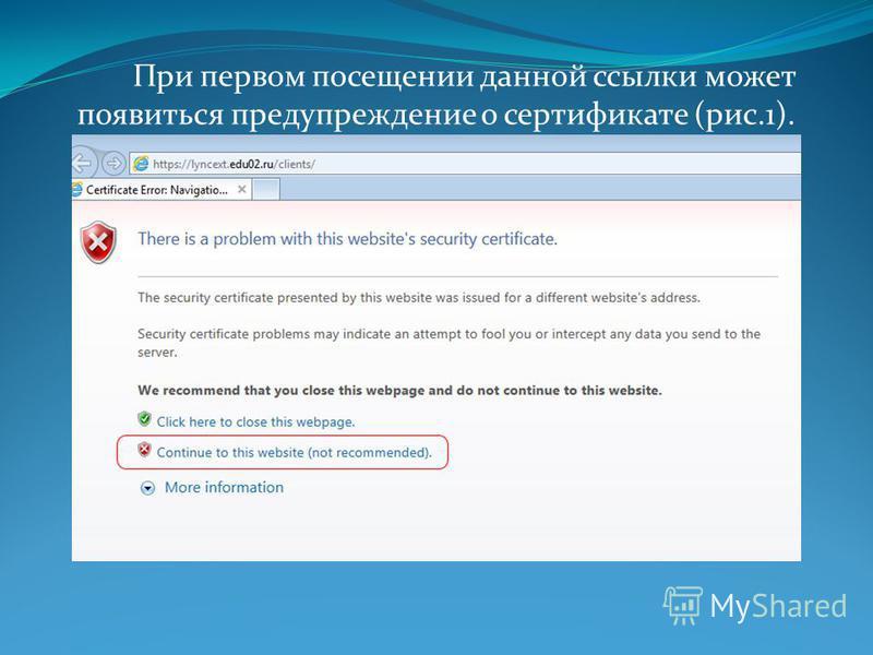 При первом посещении данной ссылки может появиться предупреждение о сертификате (рис.1).