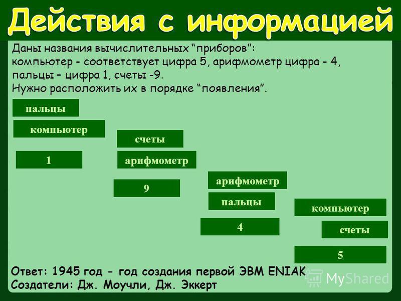 счеты пальцы арифмометр компьютер 4 9 1 5 Даны названия вычислительных приборов: компьютер - соответствует цифра 5, арифмометр цифра - 4, пальцы – цифра 1, счеты -9. Нужно расположить их в порядке появления. Ответ: 1945 год - год создания первой ЭВМ