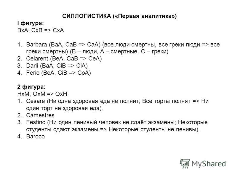 СИЛЛОГИСТИКА («Первая аналитика») I фигура: BxA; CxB => CxA 1. Barbara (BaA, CaB => CaA) (все люди смертны, все греки люди => все греки смертны) (В – люди, А – смертные, С – греки) 2. Celarent (BеA, CaB => CеA) 3. Darii (BaA, CiB => CiA) 4. Ferio (Be
