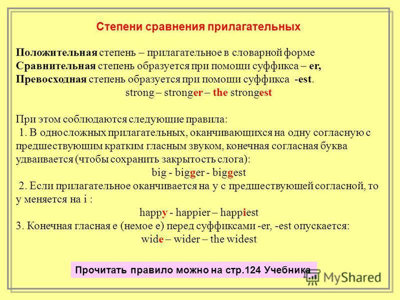 Степени сравнения прилагательных Положительная степень – прилагательное в словарной форме Сравнительная степень образуется при помощи суффикса – er, Превосходная степень образуется при помощи суффикса -est. strong – stronger – the strongest При этом