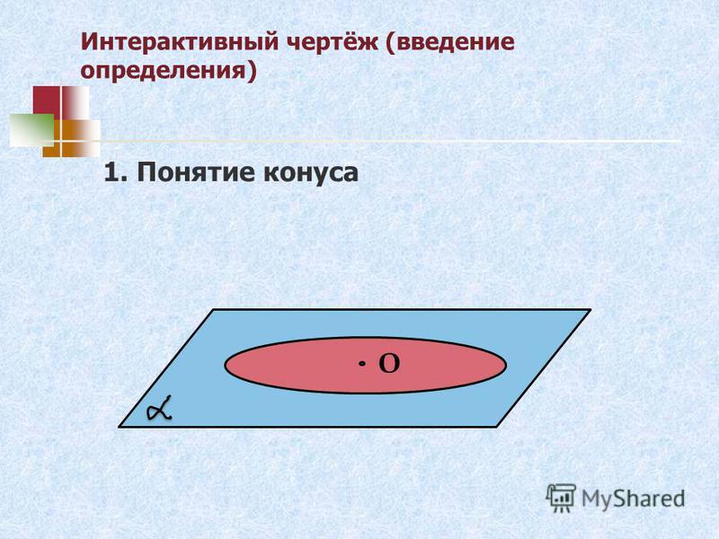 Интерактивный чертёж (введение определения) О 1. Понятие конуса