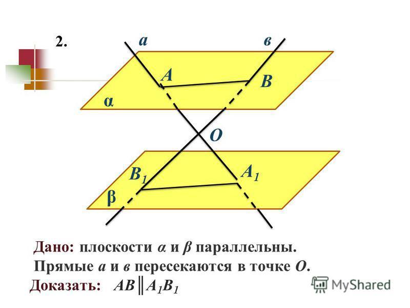 Дано: плоскости α и β параллельны. Прямые а и в пересекаются в точке О. Доказать: АВА 1 В 1 ав 2. β α А А1А1 В В1В1 О