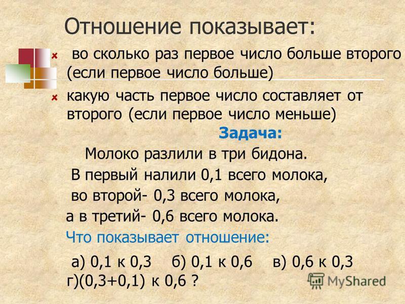 Отношение показывает: во сколько раз первое число больше второго (если первое число больше) какую часть первое число составляет от второго (если первое число меньше) Задача: Молоко разлили в три бидона. В первый налили 0,1 всего молока, во второй- 0,