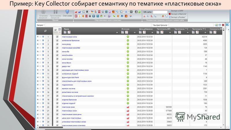 Пример: Key Collector собирает семантику по тематике «пластиковые окна»