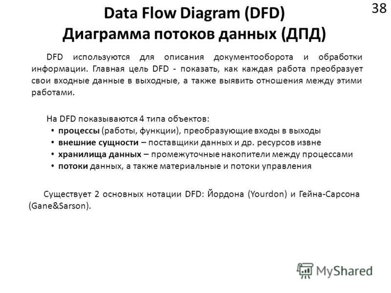 Data Flow Diagram (DFD) Диаграмма потоков данных (ДПД) 38 DFD используются для описания документооборота и обработки информации. Главная цель DFD - показать, как каждая работа преобразует свои входные данные в выходные, а также выявить отношения межд
