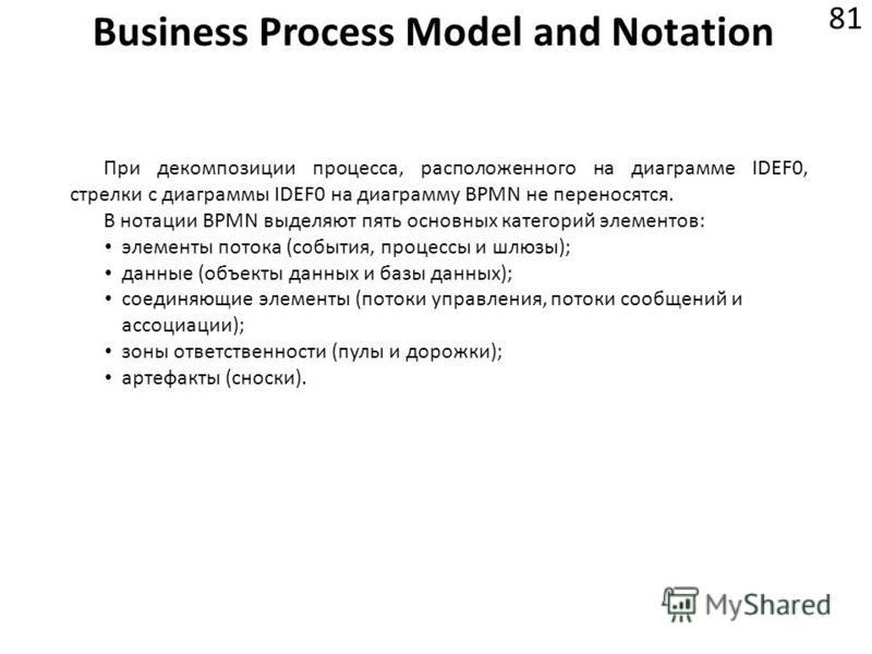 Business Process Model and Notation 81 При декомпозиции процесса, расположенного на диаграмме IDEF0, стрелки с диаграммы IDEF0 на диаграмму BPMN не переносятся. В нотации BPMN выделяют пять основных категорий элементов: элементы потока (события, проц