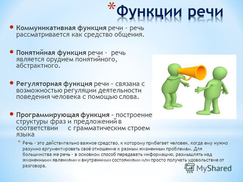 Коммуникативная функция речи - речь рассматривается как средство общения. Понятийная функция речи - речь является орудием понятийного, абстрактного. Регуляторная функция речи – связана с возможностью регуляции деятельности поведения человека с помощь