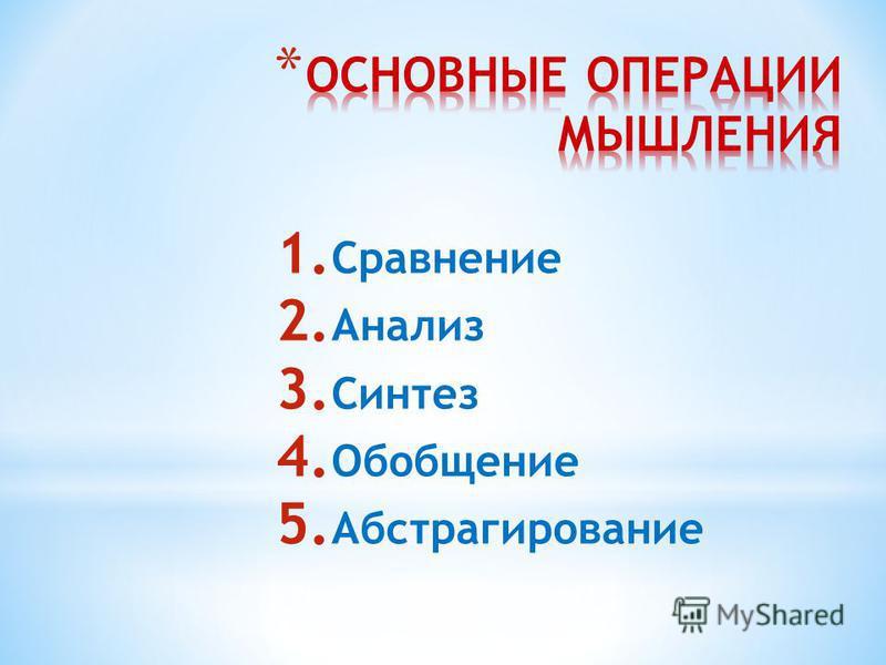 1. Сравнение 2. Анализ 3. Синтез 4. Обобщение 5. Абстрагирование