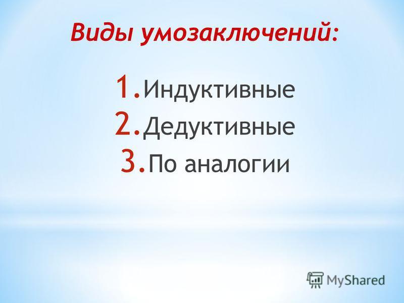 Виды умозаключений: 1. Индуктивные 2. Дедуктивные 3. По аналогии