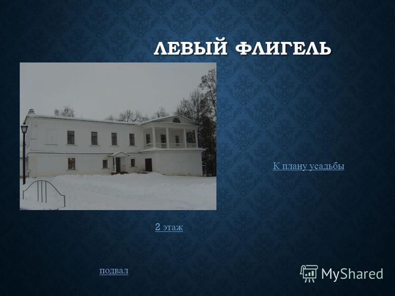 ЛЕВЫЙ ФЛИГЕЛЬ 2 этаж подвал К плану усадьбы