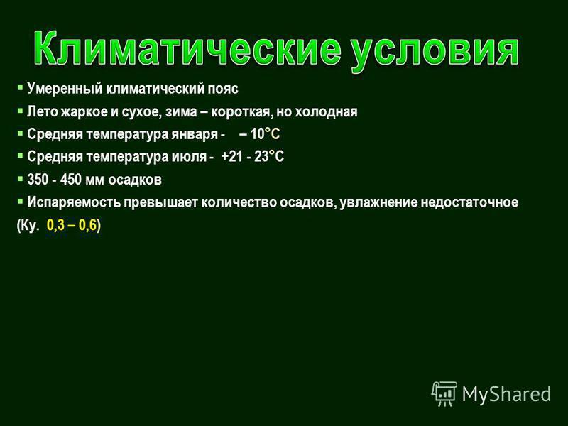 Умеренный климатический пояс Лето жаркое и сухое, зима – короткая, но холодная С Средняя температура января - – 10°С Средняя температура июля - +21 - 23°С 350 - 450 мм осадков Испаряемость превышает количество осадков, увлажнение недостаточное (Ку. 0