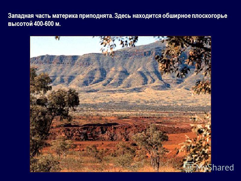 Западная часть материка приподнята. Здесь находится обширное плоскогорье высотой 400-600 м.
