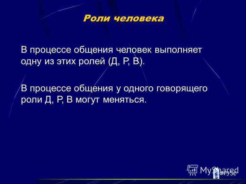 Роли человека В процессе общения человек выполняет одну из этих ролей (Д, Р, В). В процессе общения у одного говорящего роли Д, Р, В могут меняться.
