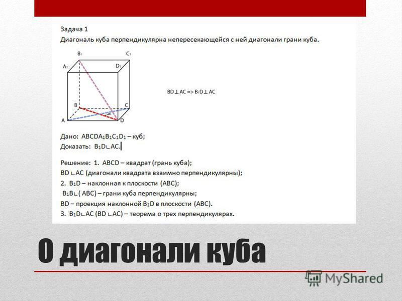 О диагонали куба
