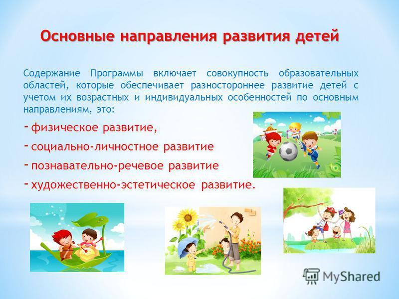 Основные направления развития детей Содержание Программы включает совокупность образовательных областей, которые обеспечивает разностороннее развитие детей с учетом их возрастных и индивидуальных особенностей по основным направлениям, это: - физическ