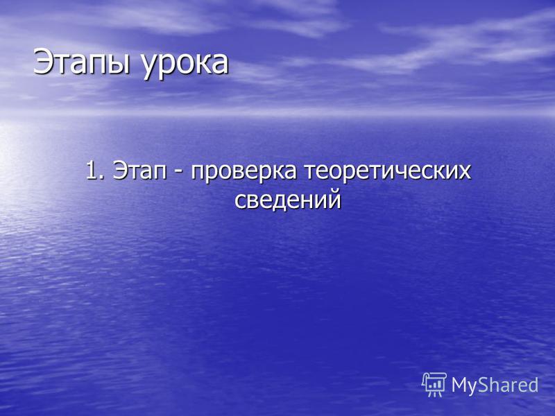 Этапы урока 1. Этап - проверка теоретических сведений