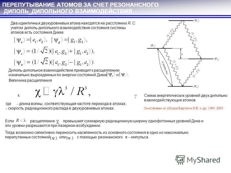 ПЕРЕПУТЫВАНИЕ АТОМОВ ЗА СЧЕТ РЕЗОНАНСНОГО ДИПОЛЬ_ДИПОЛЬНОГО ВЗАИМОДЕЙСТВИЯ Два идентичных двухуровневых атома находятся на расстоянии R. С учетом диполь-дипольного взаимодействия состояния системы атомов есть состояния Дикке Схема энергетических уров