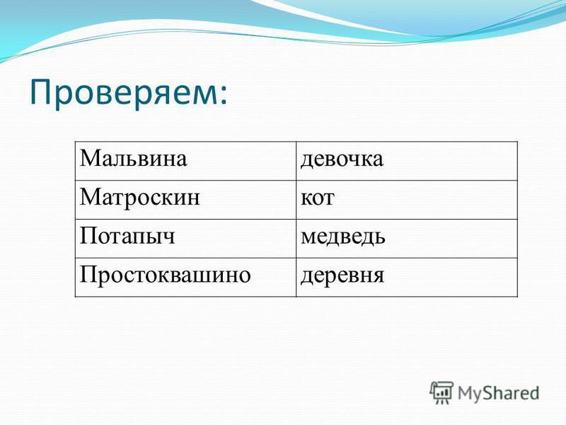 Проверяем: Мальвинадевочка Мматроскинкот Ппотапычмедведь Ппростоквашинодеревня