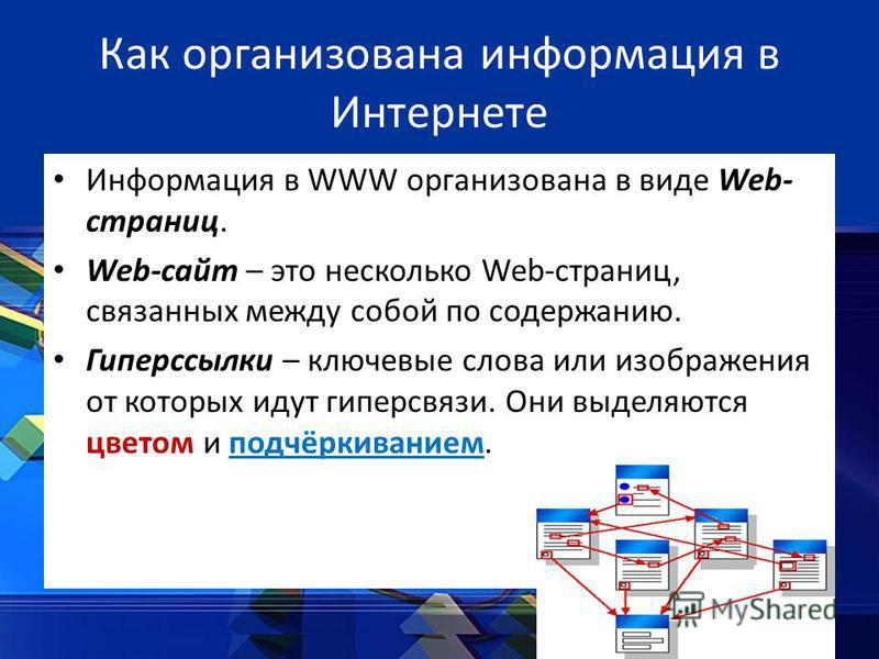 Как организована информация в Интернете Информация в WWW организована в виде Web- страниц. Web-сайт – это несколько Web-страниц, связанных между собой по содержанию. Гиперссылки – ключевые слова или изображения от которых идут гиперсвязи. Они выделяю