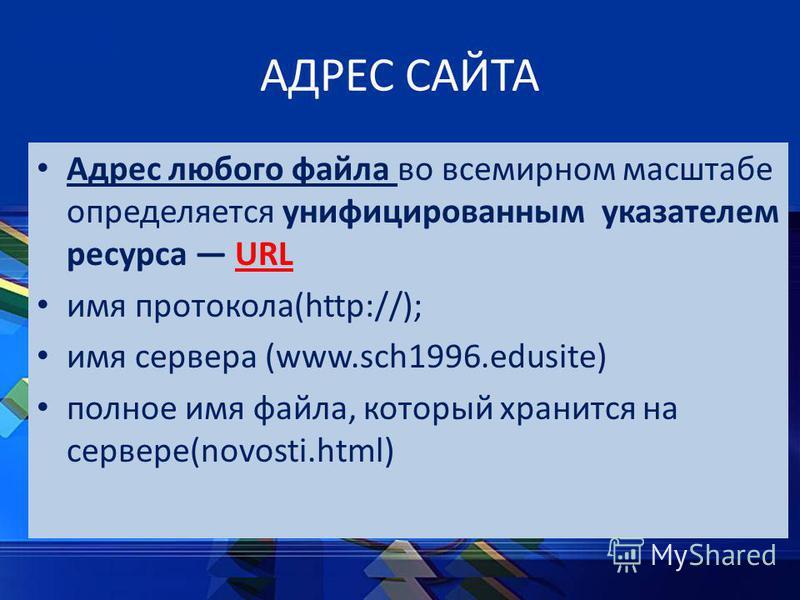 АДРЕС САЙТА Адрес любого файла во всемирном масштабе определяется унифицированным указателем ресурса URL имя протокола(http://); имя сервера (www.sch1996.edusite) полное имя файла, который хранится на сервере(novosti.html)