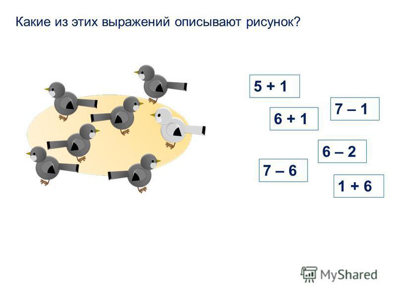 5 + 1 6 + 1 6 – 2 Какие из этих выражений описывают рисунок? 1 + 6 7 – 1 7 – 6