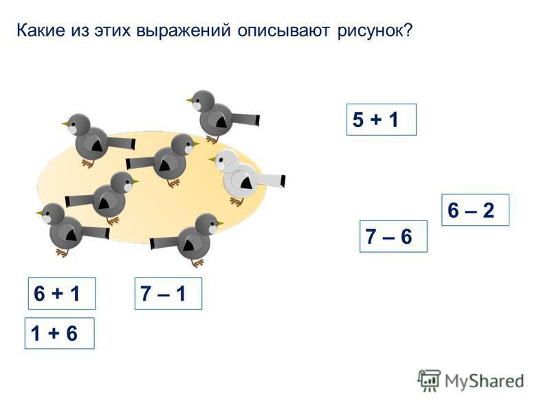 5 + 1 6 – 2 7 – 6 Какие из этих выражений описывают рисунок? 1 + 6 6 + 16 + 1 7 – 1