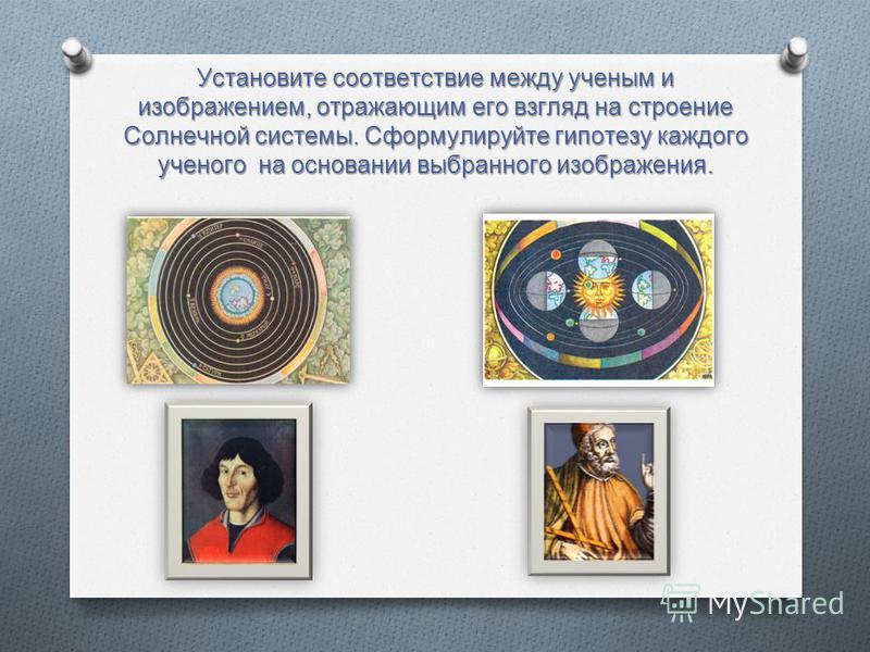 Установите соответствие между ученым и изображением, отражающим его взгляд на строение Солнечной системы. Сформулируйте гипотезу каждого ученого на основании выбранного изображения.