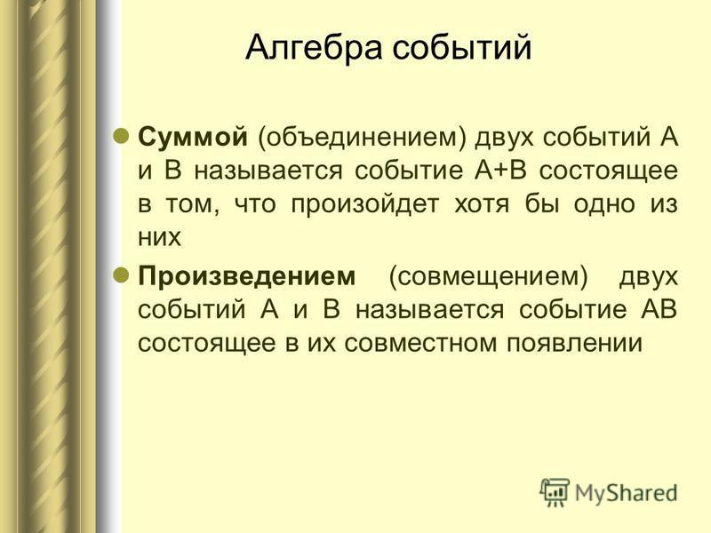 Алгебра событий Суммой (объединением) двух событий А и В называется событие А+В состоящее в том, что произойдет хотя бы одно из них Произведением (совмещением) двух событий А и В называется событие АВ состоящее в их совместном появлении