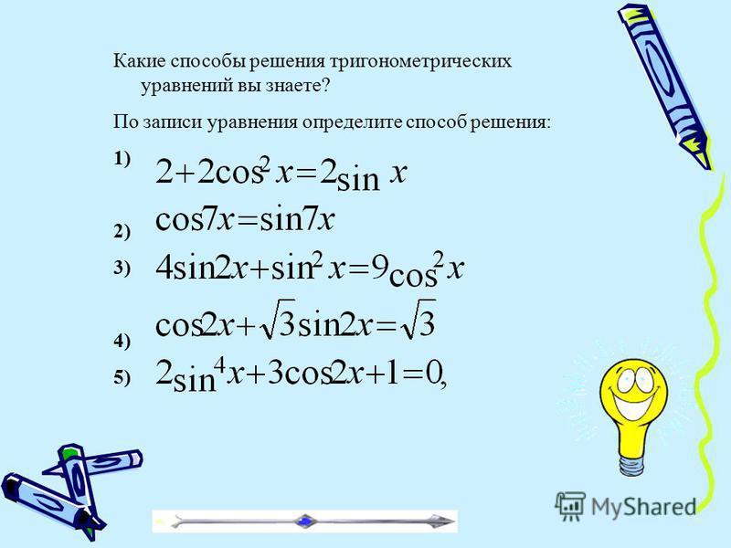 Какие способы решения тригонометрических уравнений вы знаете? По записи уравнения определите способ решения: 1) 2) 3) 4) 5)