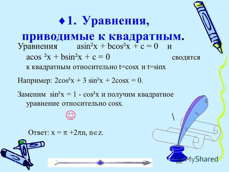 Уравнения asin²x + bcos²x + c = 0 и acos ²x + bsin²x + c = 0 сводятся к квадратным относительно t=cosx и t=sinx Например: 2cos²x + 3 sin²x + 2cosx = 0. Заменим sin²x = 1 - cos²x и получим квадратное уравнение относительно cosx. Ответ: x = +2 n, n z.