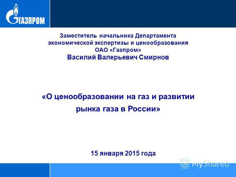 Заместитель начальника Департамента экономической экспертизы и ценообразования ОАО «Газпром» Василий Валерьевич Смирнов «О ценообразовании на газ и развитии рынка газа в России» 15 января 2015 года
